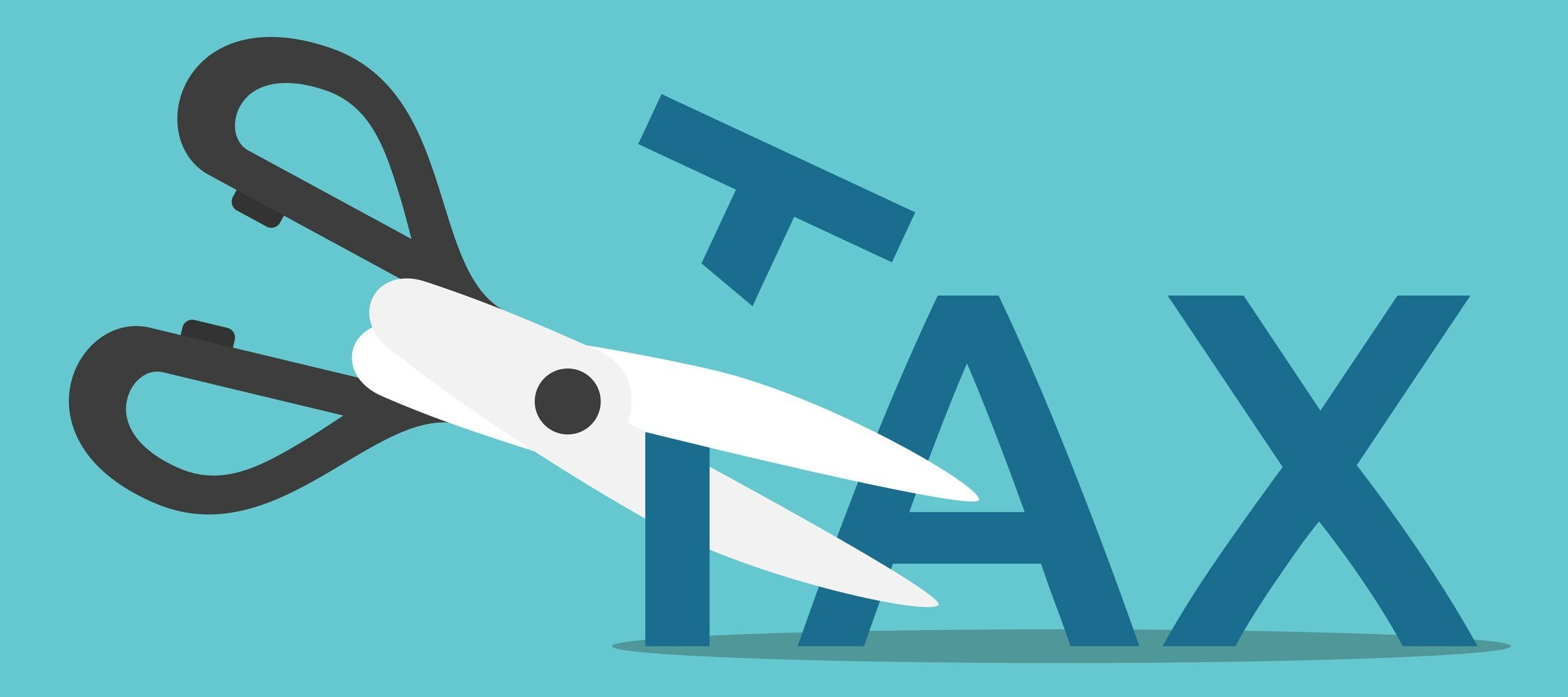 Scissors cutting word tax on blue background. Business, finance and profit concept. Flat design. EPS 8 vector illustration, no transparency